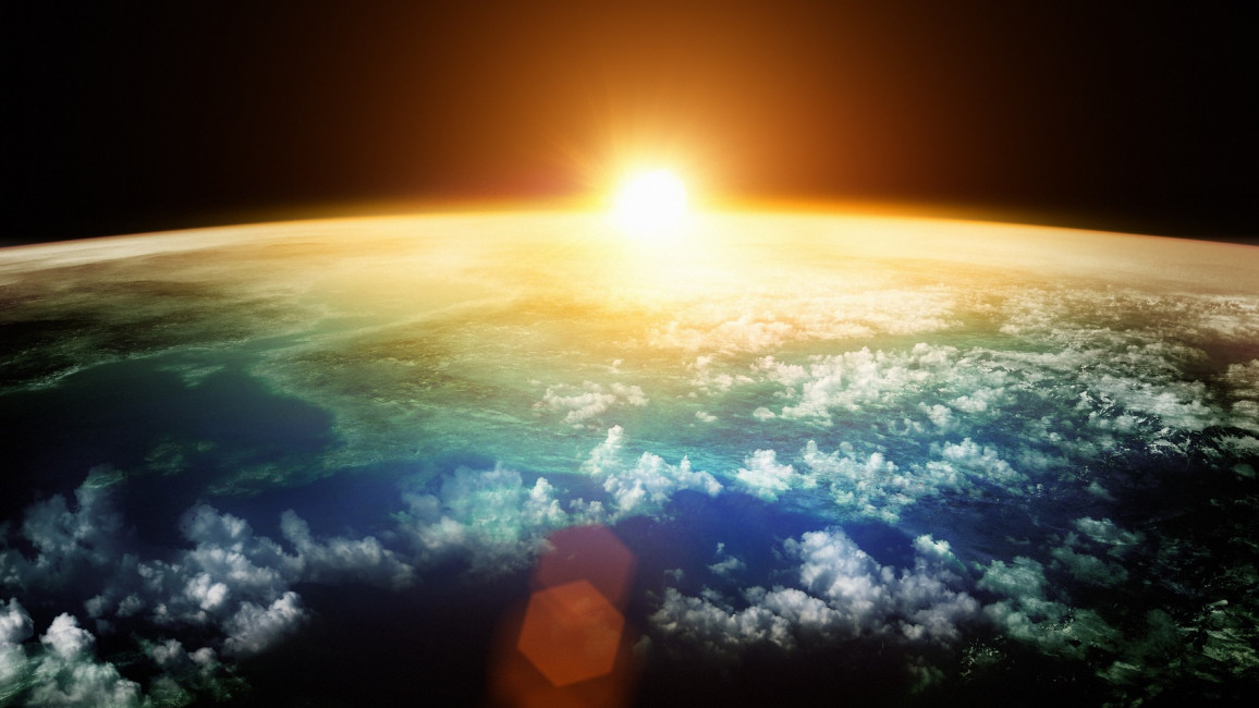 Sonnenuntergang Erdatmosphähre