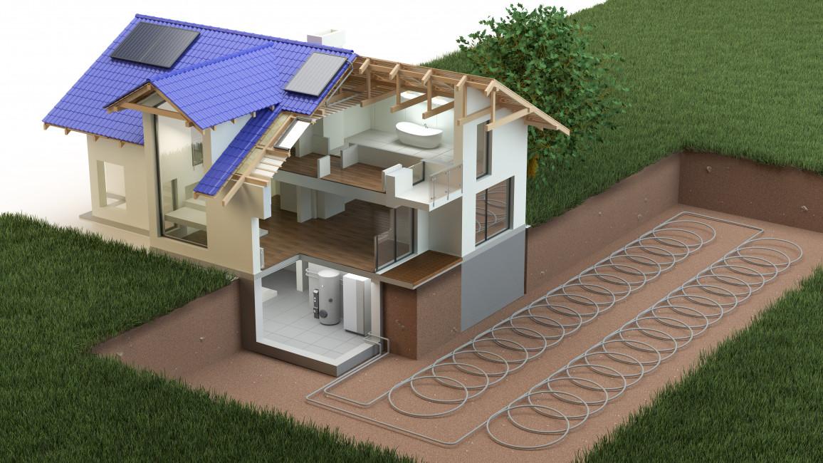 Heizung und Kühlung über solar betriebene Wärmepumpe