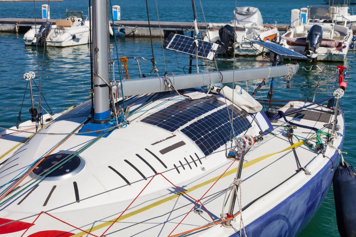 Photovoltaic Solar Panels On Modern Sail Boat