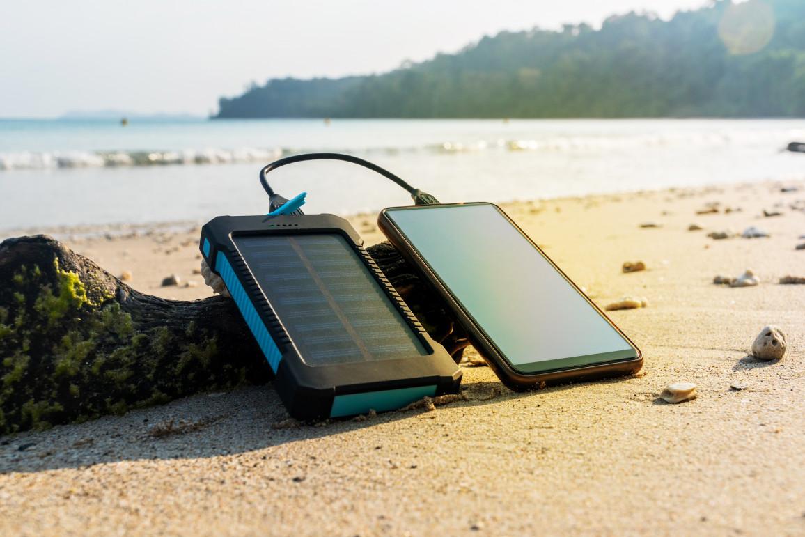Portable Solar Panel Is On The Beach