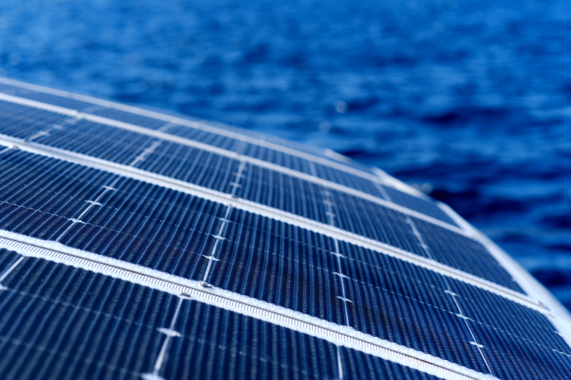 Close Up View Part Of Solar Panel On Dock Of Sailboat