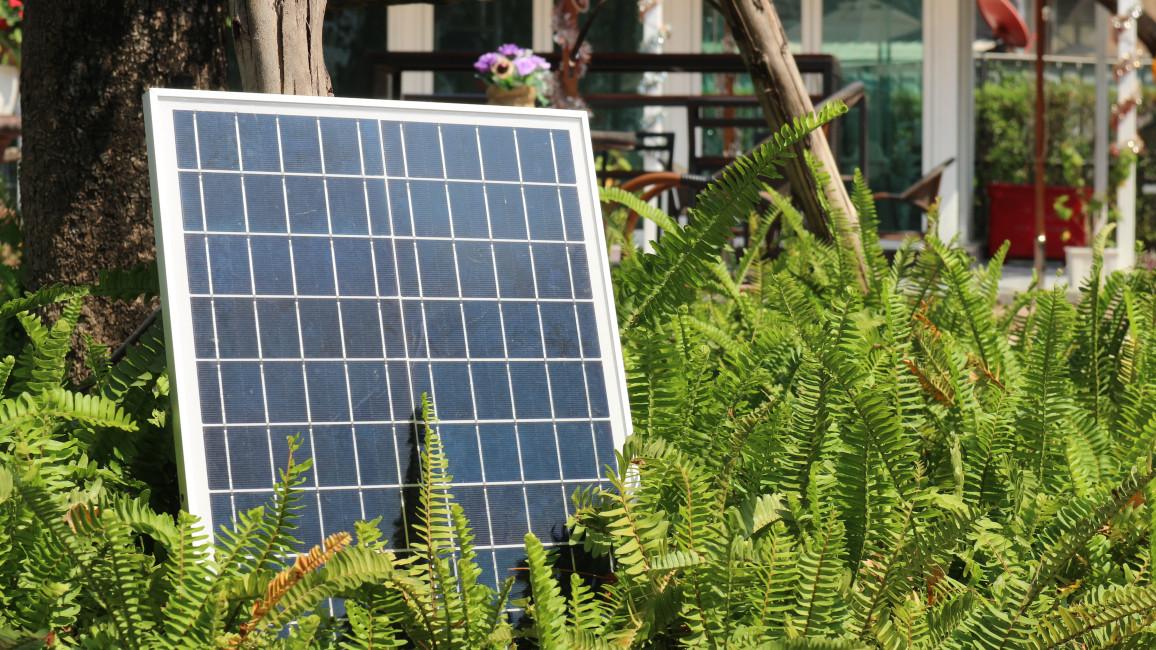 Einzelnen Solarmodul im Garten